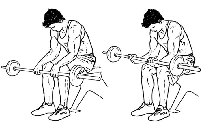 Exercício para antebraço - Rosca de punho com barra pronada
