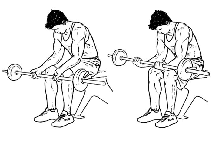 Exercício para antebraço - Rosca de punho com barra supinada